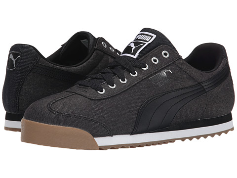 PUMA - Roma Waxed Denim (Black/Puma Silver) Men