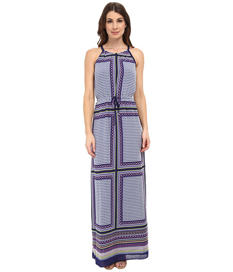 Adrianna Papell - Printed Halter Neck Maxi (Blue Multi) Women's Dress