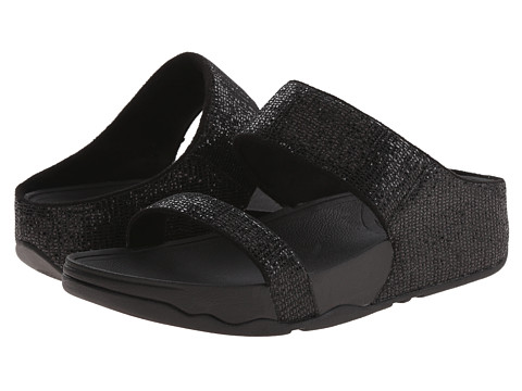 FitFlop - Lulu Superglitz Slide (Black) Women's Slide Shoes