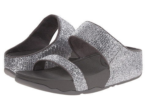 FitFlop - Lulu Superglitz Slide (Silver) Women's Slide Shoes