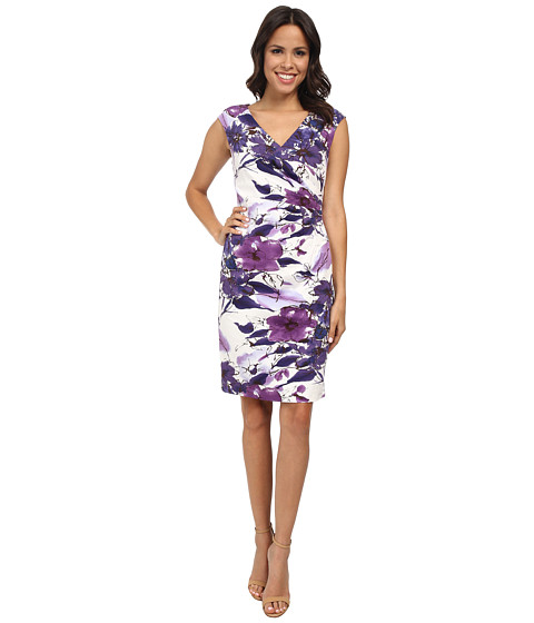 Adrianna Papell - Faux Wrap Pleats Sheath Dress (Purple Multi) Women's Dress