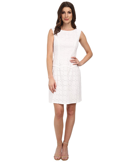 Adrianna Papell - Drop Waist Scalloped Flounce Dress (White) Women's Dress