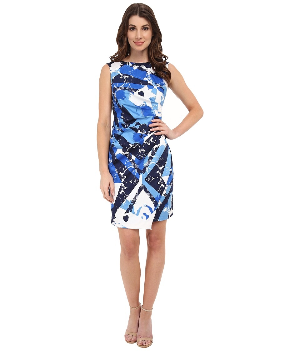 Adrianna Papell - Diagonal Pleated Print Dress (Blue Multi) Women