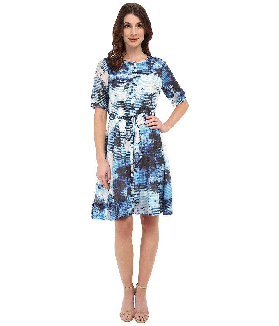 Adrianna Papell - Elbow Sleeve Draw String Sheath Dress (Blue Multi) Women's Dress