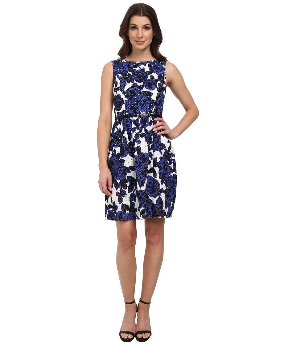 Adrianna Papell - Sleeveless Shirred Dress (Ivory Multi) Women's Dress