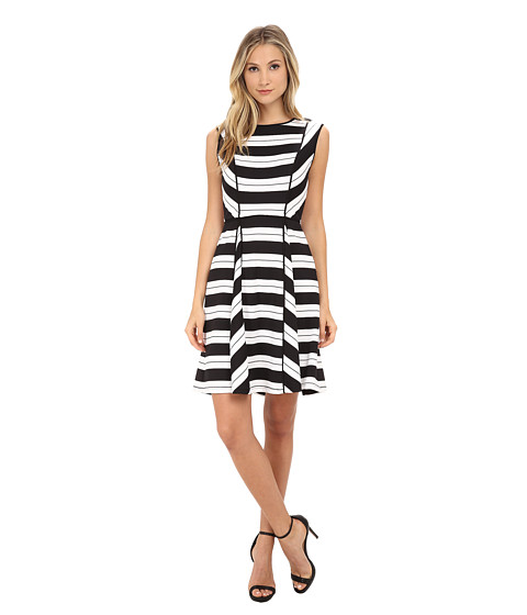 Adrianna Papell - Varigated Placed Stripe Print Dress (Black/Ivory) Women