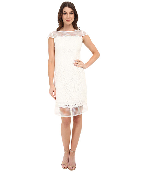 Adrianna Papell - Fabric Mixing Lace Sheath (Ivory Multi) Women's Dress