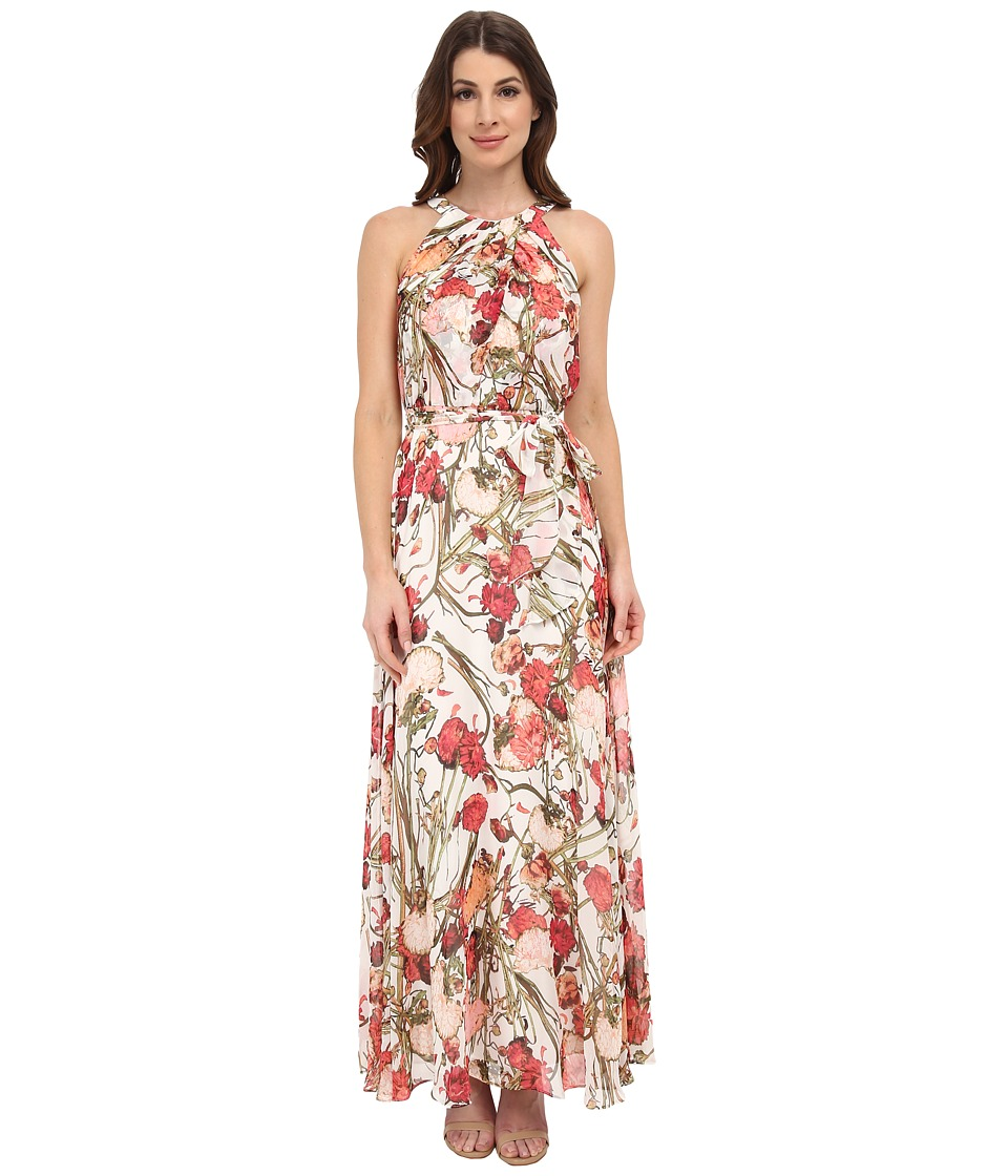 Adrianna Papell - Crossover Drape Halter Printed Maxi (Coral Multi) Women's Dress
