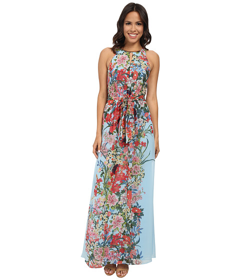 Adrianna Papell - Printed Multi Floral Halter Long Maxi Dress (Blue Multi) Women