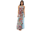 Printed Multi Floral Halter Long Maxi Dress