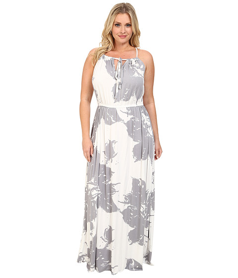 Rachel Pally Plus - Plus Size Kiku Dress White Label Print (Grey Floral) Women's Dress