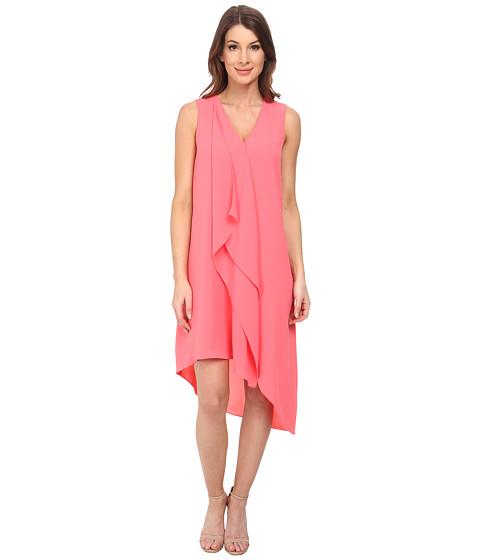 Adrianna Papell - Asymmetrical Front Drape Dress (Grapefruit) Women