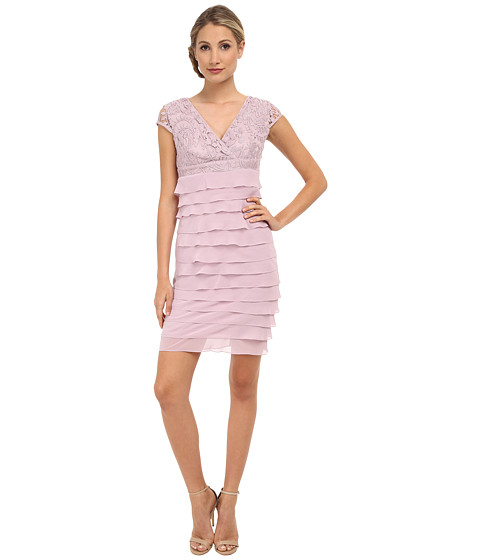 Adrianna Papell - Lace Surplice Top Tiered Sheath Dress (Shell) Women