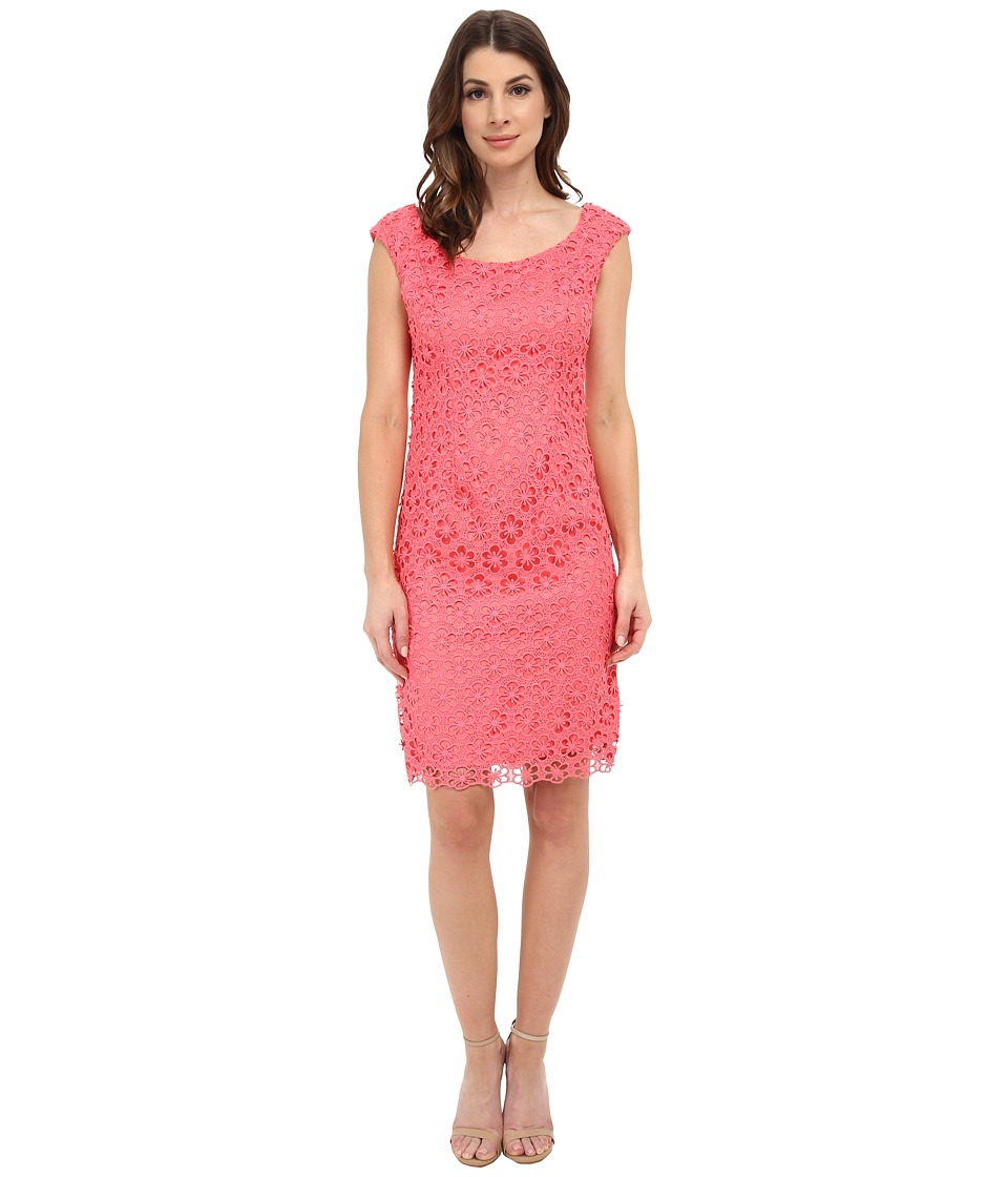 Adrianna Papell - Floral Open Lace Sheath (French Coral) Women's Dress