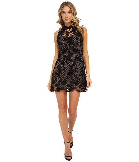 Free People - Snowdrop Lace Trapeze Dress (Black Combo) Women