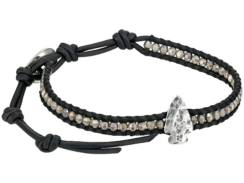 Chan Luu - 6' Antique Silver/Natural Black Single with Arrowhead Charm (Antique Silver/Natural Black) Bracelet