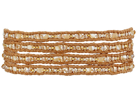 Chan Luu - 32' Natural Mix/Beige Wrap with Crystals (Natural Mix/Beige) Bracelet
