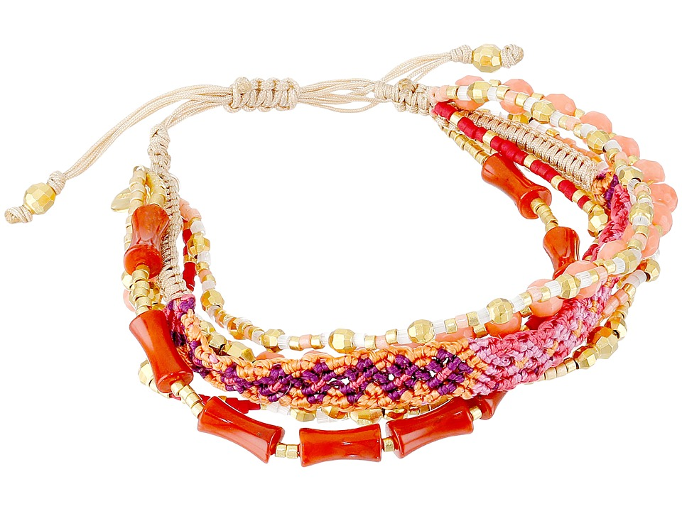 Chan Luu - 6 1/4' Adjustable Multi Strand Single (Salmon Coral Mix) Bracelet