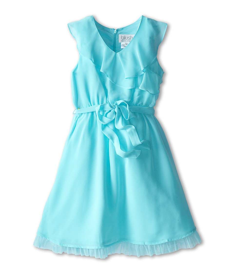 Us Angels - Sleevless Wrap Front w/ Full Skirt (Aqua) Girl's Dress