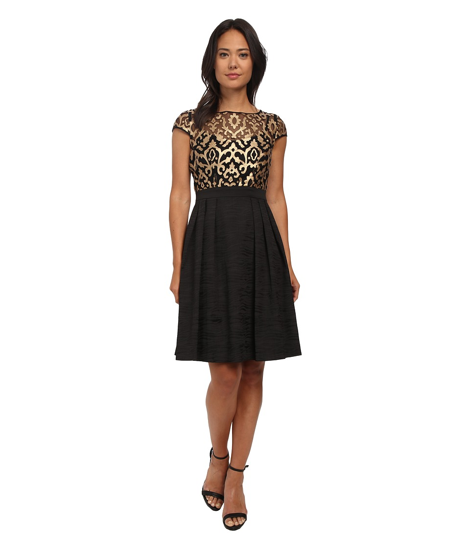 Adrianna Papell Baroque Leather Illusioni Fit And Flare (Black/Gold) Women