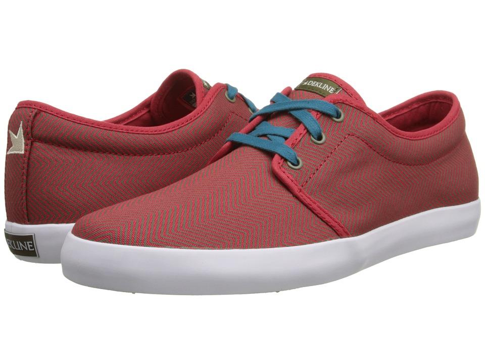 Dekline - River (Red/Sand Chevron Canvas) Men's Skate Shoes