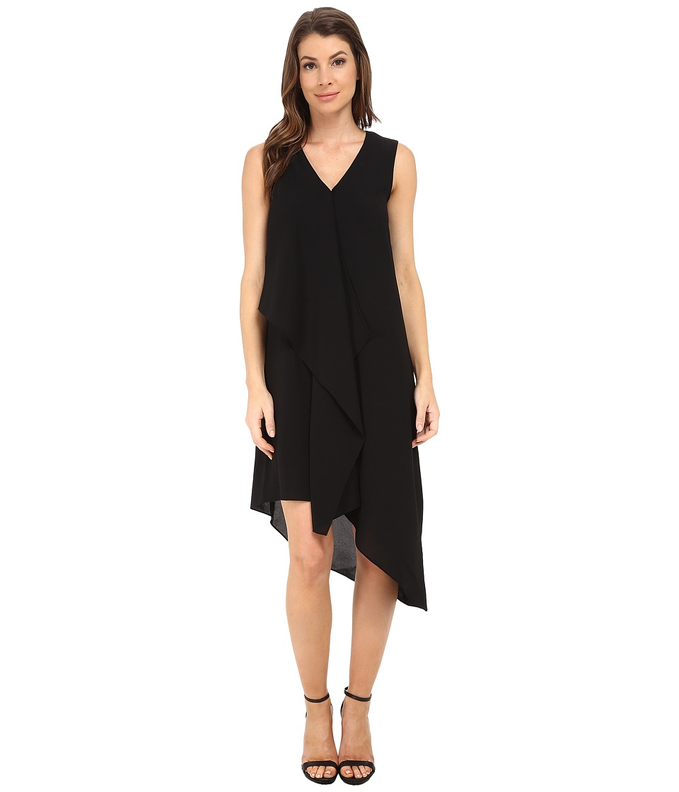 Adrianna Papell - Asymmetrical Front Drape Dress (Black) Women's Dress