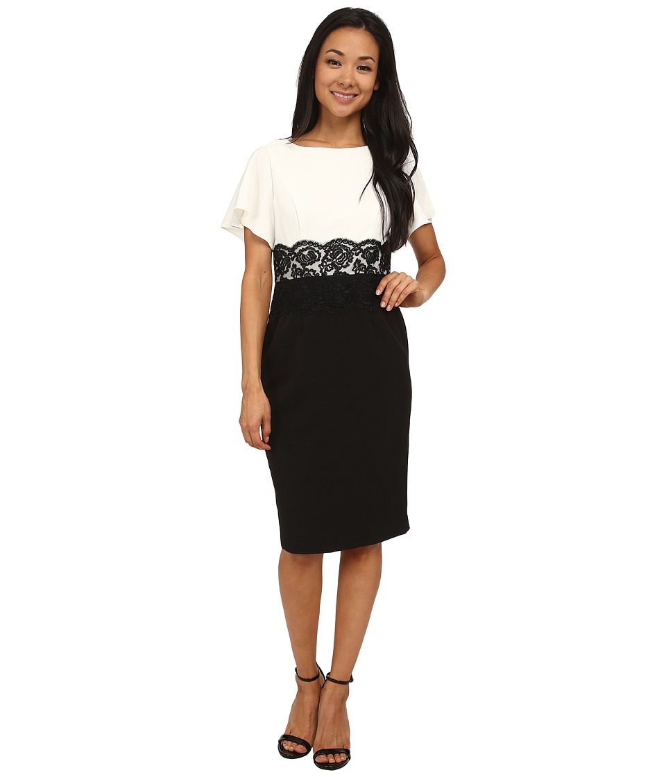 Adrianna Papell - Flutter Sleeve Lace Midriff Sheath (Ivory/Black) Women