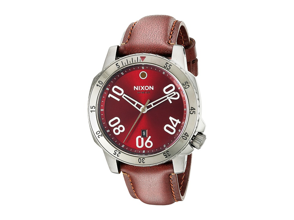 Nixon - Ranger Leather - Gunmetal/Burgundy Collection (Gunmetal/Deep Burgundy) Watches