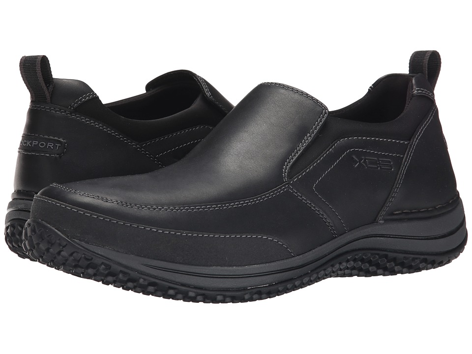 Rockport - Walk360 Walking Stretch Slip-On (Black/Dark Shadow) Men's Slip on Shoes