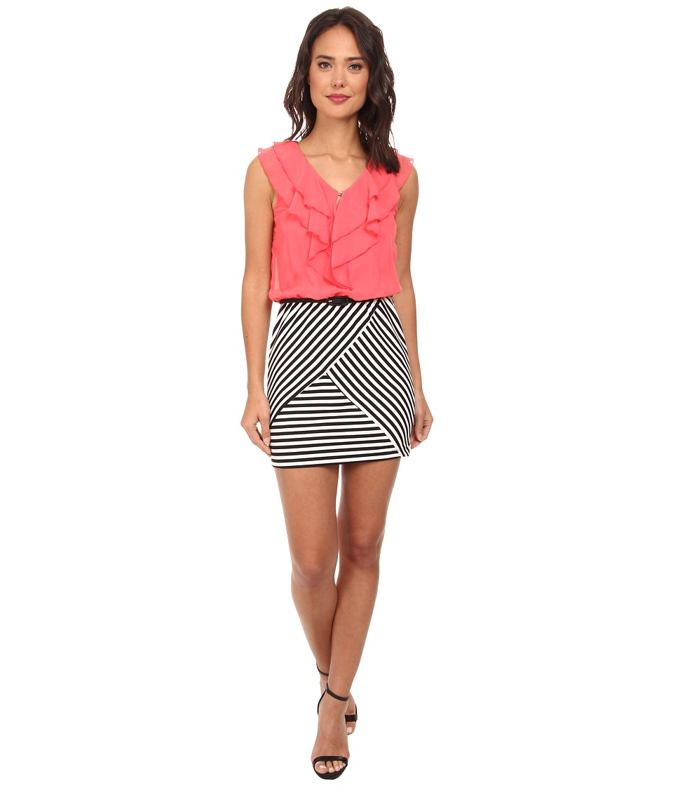 Gabriella Rocha - Anna Chiffon Stripe Dress (Coral/Black) Women