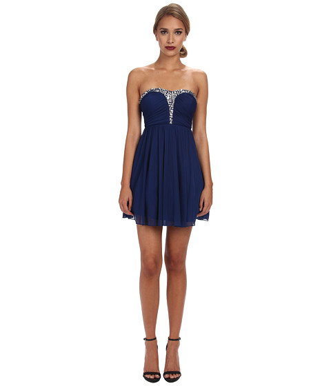 Alejandra Sky - Rhinestone Bustier Dress (Blue) Women