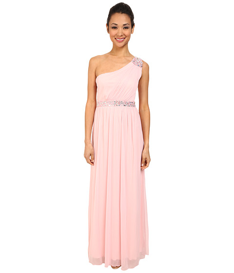Alejandra Sky - Sheer Matte One-Shoulder Dress (Baby Pink) Women