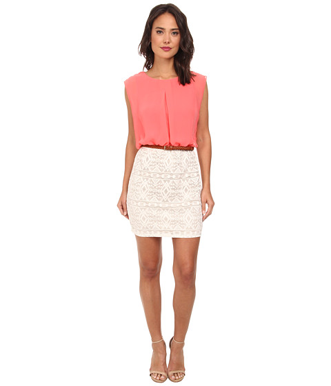 Gabriella Rocha - Veronica Chiffon Lace Belted Dress (Ivory/Coral) Women
