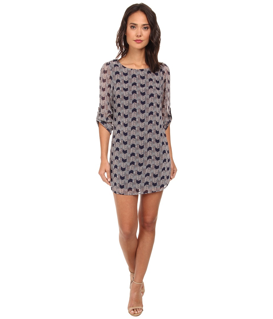 Gabriella Rocha - Rachel Print Chiffon 3/4 Sleeve Shift Dress (Navy/Cream) Women