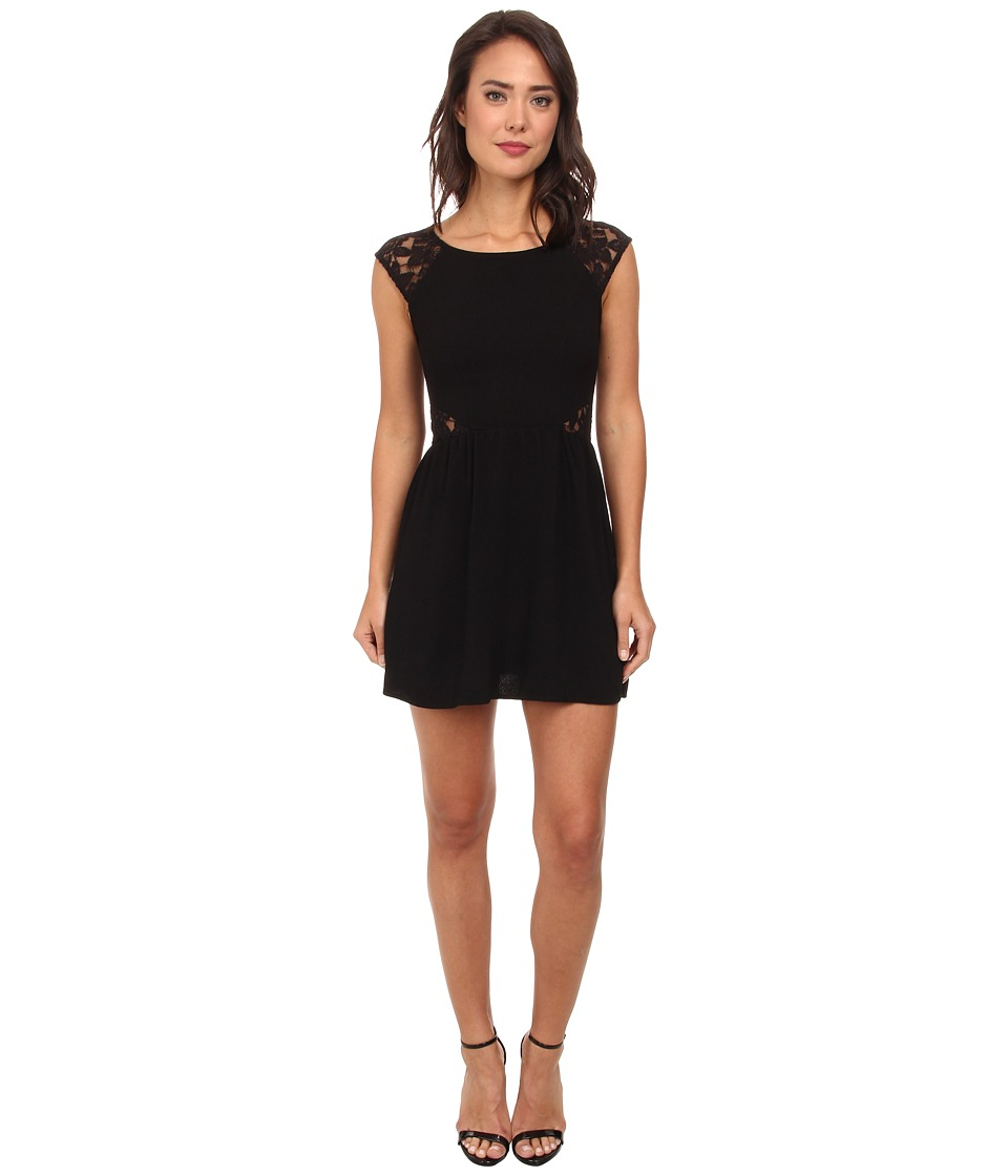 Gabriella Rocha - Mara Crepe Cap Sleeve Lace Dress (Black) Women