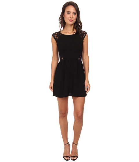 Gabriella Rocha - Mara Crepe Cap Sleeve Lace Dress (Black) Women