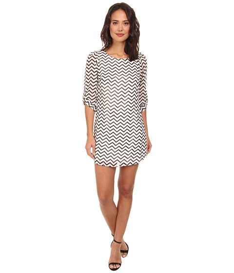 Gabriella Rocha - Chevron Chiffon 3/4 Sleeve Shift Dress (Off White) Women's Dress