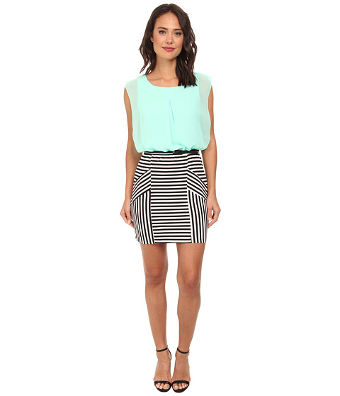 Gabriella Rocha - Stephanie Chiffon Stripe Belted Dress (Mint/Black) Women's Dress