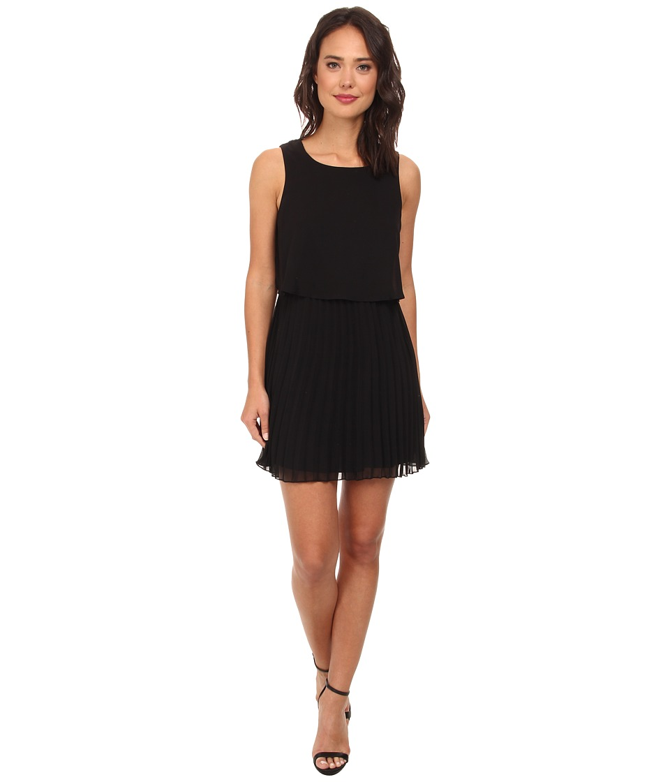 Gabriella Rocha - Izzy Chiffon Popover Pleated Skirt Dress (Black) Women's Dress