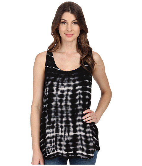 Allen Allen - Tie-Dye Racerback Tank Top (Black) Women's Sleeveless