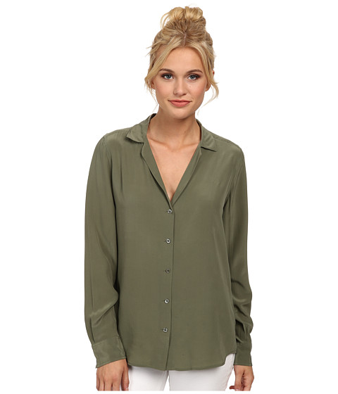 EQUIPMENT - Adalyn V-Neck Button Up Solid (Army Jacket) Women