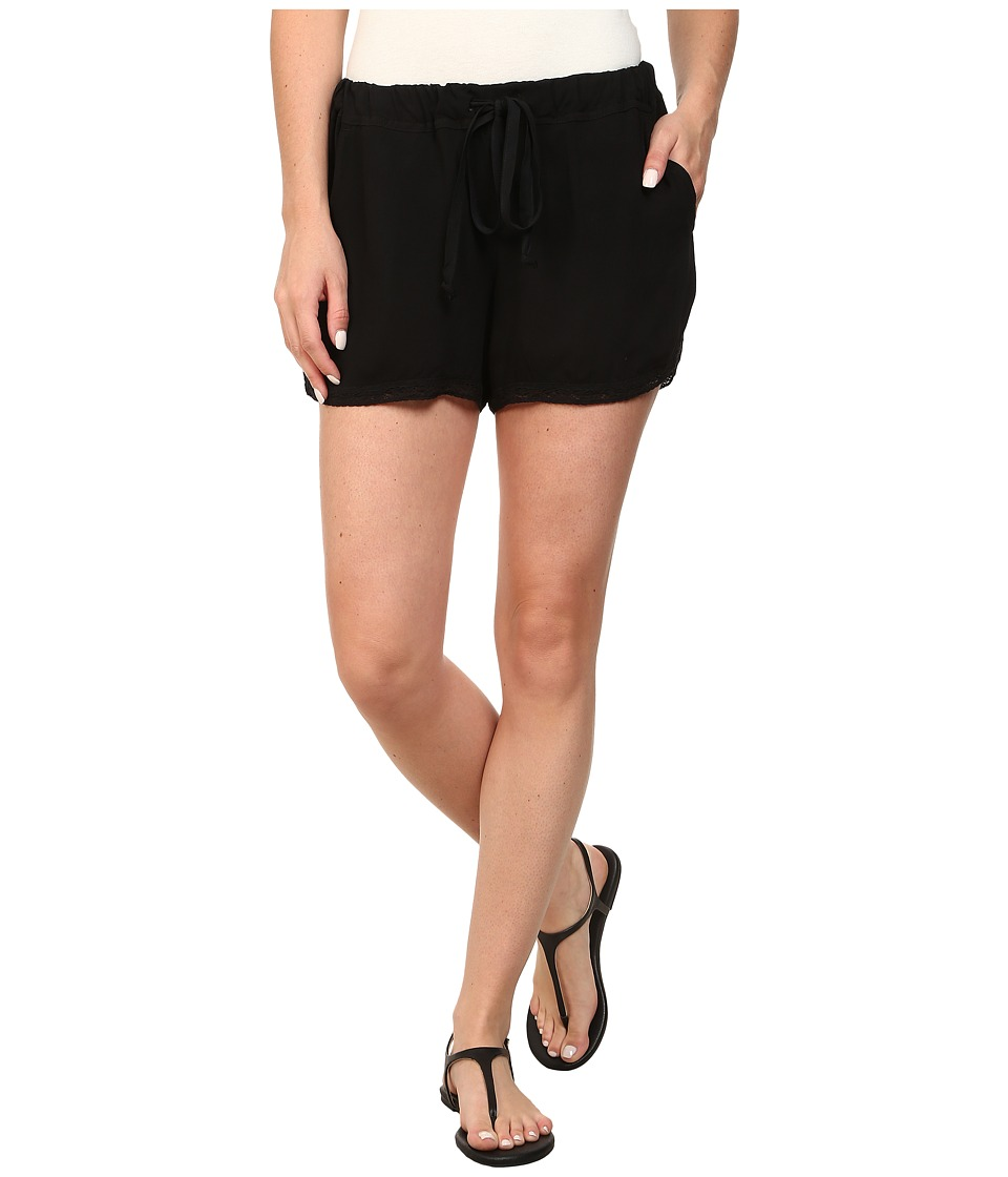 Allen Allen - Shorts with Lace Trim (Black) Women's Shorts