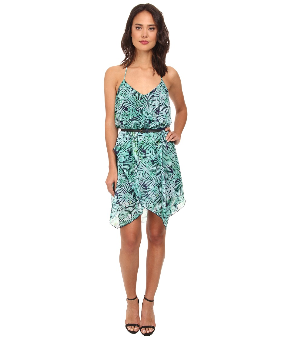 Gabriella Rocha - Katrina Tropical Chiffon Hanky Dress (Navy/Teal) Women's Dress