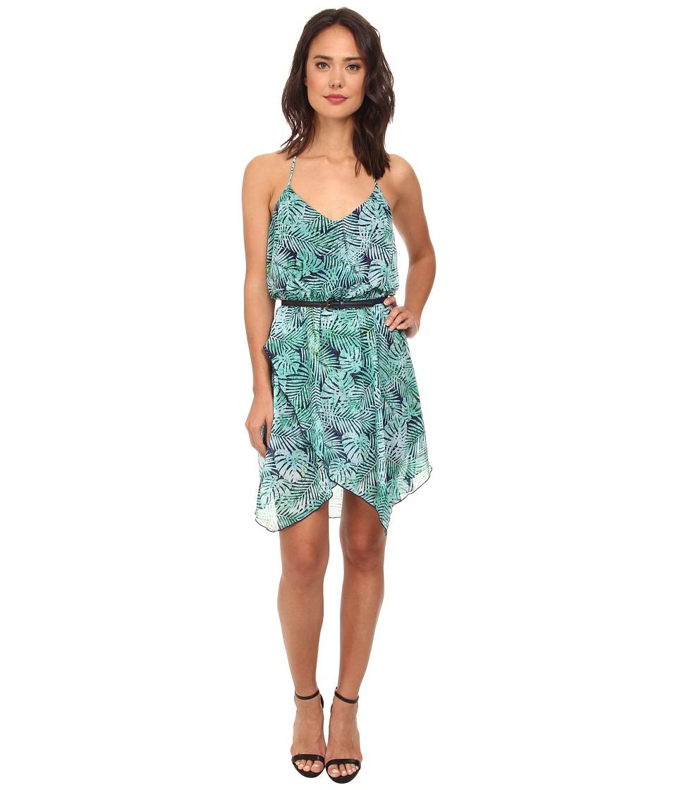 Gabriella Rocha - Katrina Tropical Chiffon Hanky Dress (Navy/Teal) Women's Dress