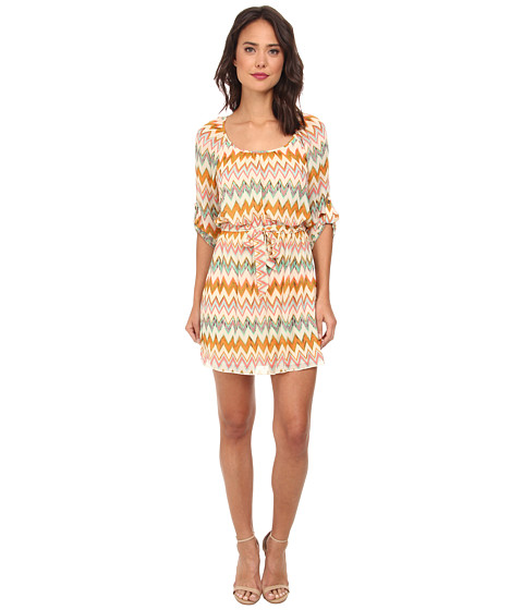 Gabriella Rocha - Katie Chevron Chiffon Dress (Ivory/Coral) Women