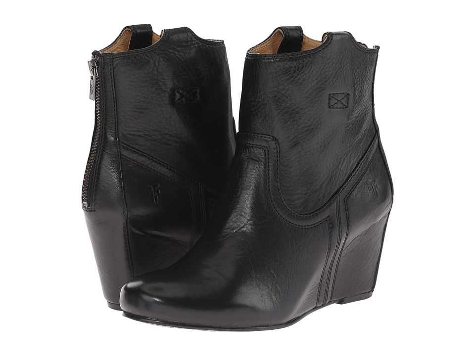 Frye - Carson Wedge Bootie (Black Soft Vintage Leather) Cowboy Boots