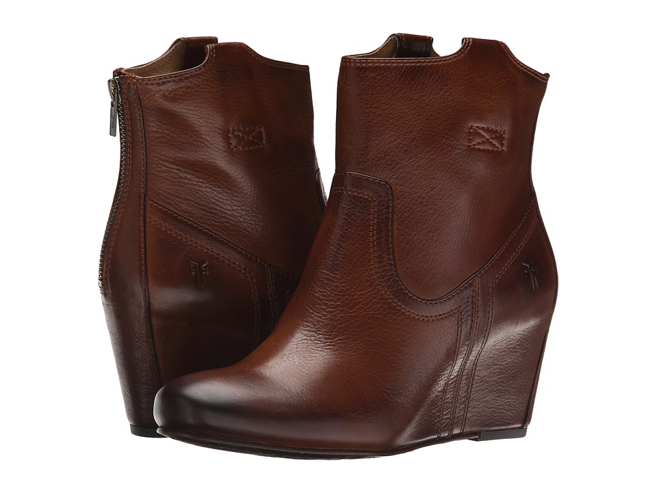 Frye - Carson Wedge Bootie (Cognac Soft Vintage Leather) Cowboy Boots