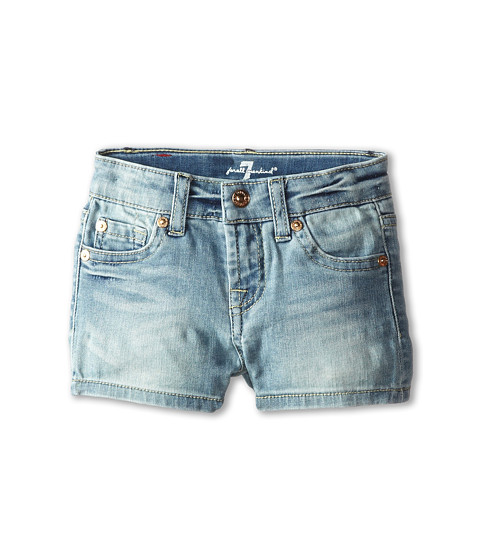 7 For All Mankind Kids - Faded Blue Shorts in 3 Illusion (Toddler) (3 Illusion) Girl's Shorts
