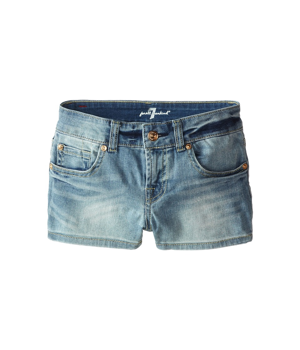 7 For All Mankind Kids - Faded Blue Shorts in 3 Illusion (Big Kids) (3 Illusion) Girl's Shorts