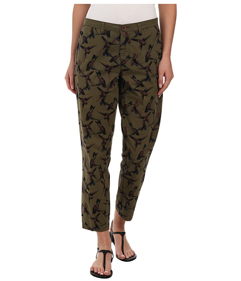 ONLY - Cigarette Ankle All Over Print Bird Pants (Ivy Green) Women
